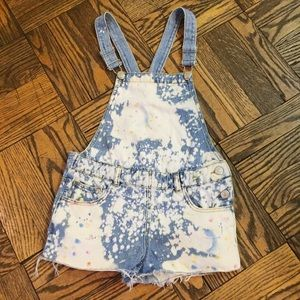 Zara Distressed Overalls Shorts Size 9/10